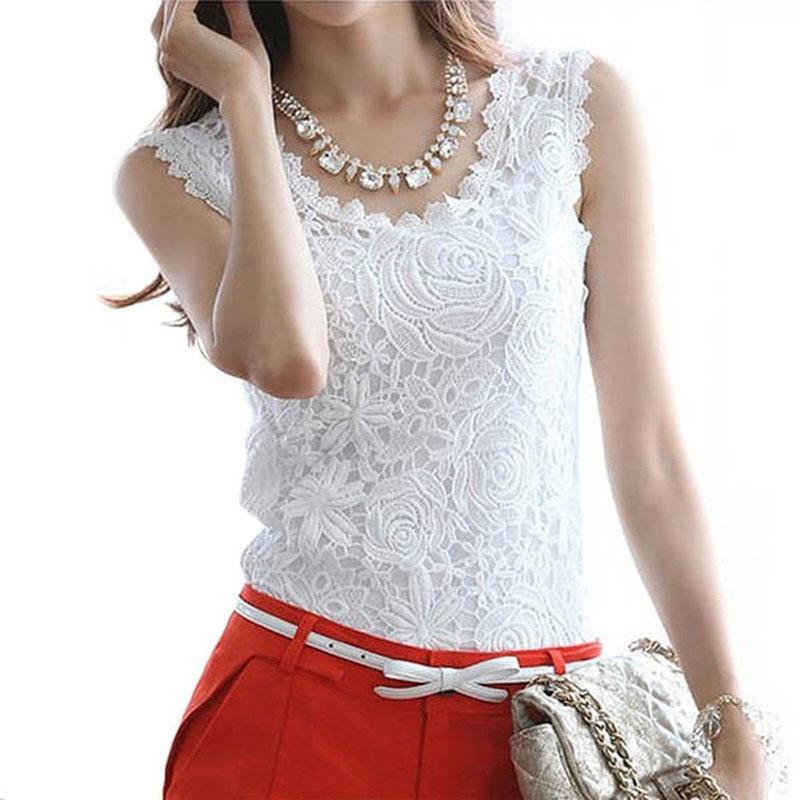 Plus Size Summer Style Women Tops Lace T-shirt Camisetas Female T-shirt Vintage Sleeveless White Crochet Shirts Tee Shirt Femme(China (Mainland))