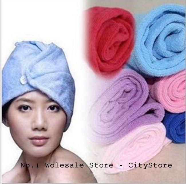 Free Shipping 300pcs/lot Microfiber Magic Hair Dry Drying Turban Wrap Towel/Hat/Cap Quick Dry Dryer Bath/make up towel(China (Mainland))
