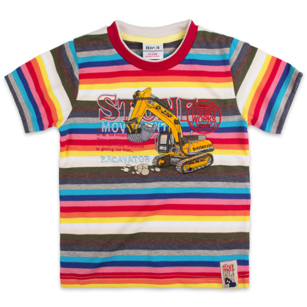 NEW arrival!!!  Free shipping high quality 5pcs/lot kids summer multicolor strip short sleeve t shirt with embroidery
