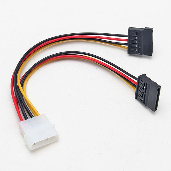 Durable 4 Pin IDE Molex to 2 of 15 Pin Serial ATA SATA Hard Drive Power Adapter Cable Free Shipping(China (Mainland))