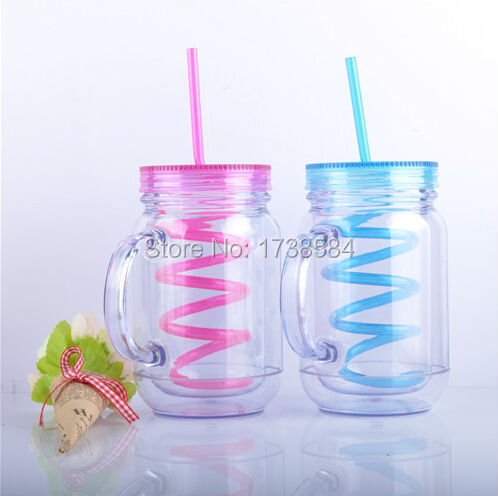 Double wall acrylic plastic cup BPA free mason jar mug with staw and lid with handle,clear water bottle popular glass tumbler(China (Mainland))