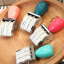 Vintage Retro Wooden Rolling Words and Date Scrapbooking DIY Stamps Wheel Rubber Dater Stamp School Stationery Color Randomly(China (Mainland))