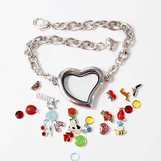 10pcs/lot Free shipping High Quality Fashion Alloy Silver Heart Floating Charm Locket Bracelet Photo Memory Living Locket(China (Mainland))