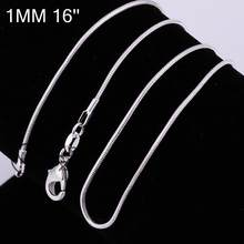 "C008 Cheap Hot 1MM Thin Top quality 925 stamped silver plated Snake Chain Jewelry Findings 16""18""20""22""24"" Wholesale Price(China)"