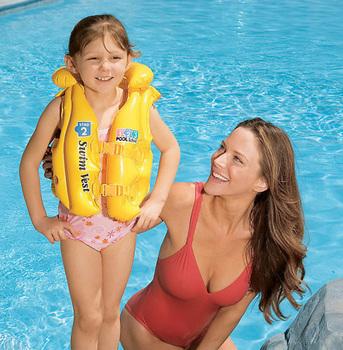 Child swimwear swimming vest intex yellow life vest baby young children sportswear