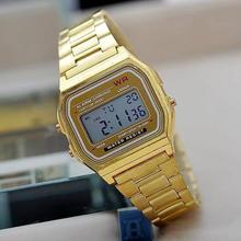 Moda oro plata pareja reloj Cassio digital reloj cuadrados militar hombres / mujeres se visten relojes deportivos de mujer oro whatch