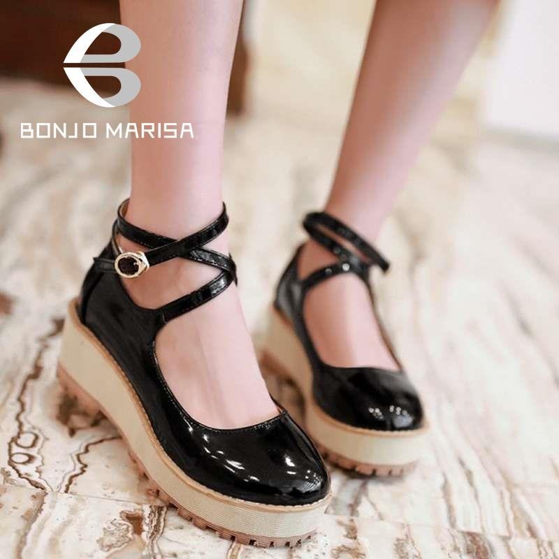Big size 34-43 Women Vintage Pumps Gladiator Ankle Straps Med High Heels Wedges Shoes Spring Autumn Casual Shoes Platform Pumps