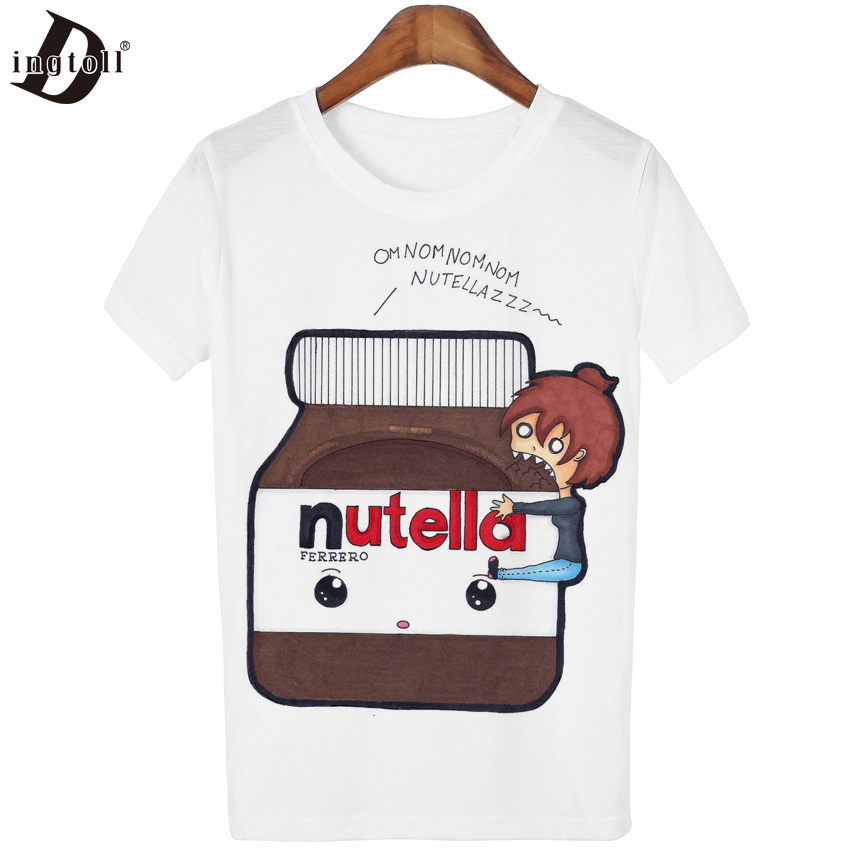 Dingtoll 10 Different Colors Cartoon Funny T shirt Tops Women Lady Girl Kwaii Tumblr Mujer Tees Harajuku Style WMT171(China (Mainland))