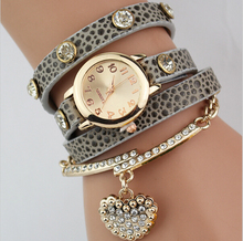 Hot selling new luxury heart pendant bracelet wristwatches women dress Quartz watches Braid Multilayer Wrap Leather
