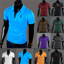 Mens Polo Homme Casual Tops Tee V Neck Polo Shirts Slim Fit Short Sleeve US M-XXXL 10 Colors