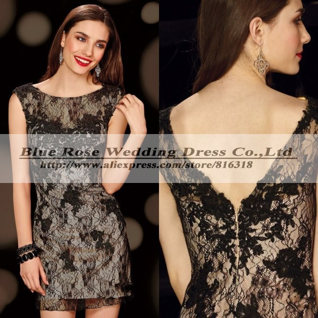 Short Lace Cocktail Dresses Backless Cocktail Dress Black Plus Size Cocktail Party Dresses Vestido Festa Curto Robe De Cocktail(China (Mainland))