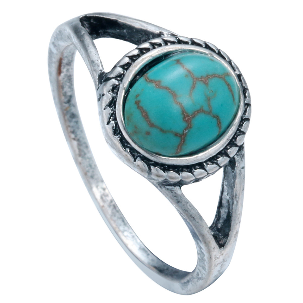 one the decorative pattern turquoise rings