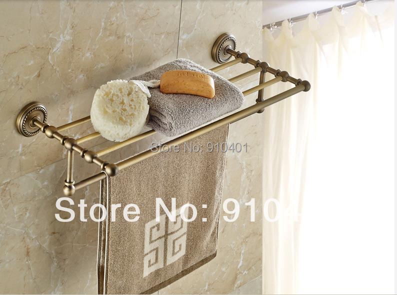 Hot Sale Wholesale And Retail Promotion Modern Luxury Antique Brass Bathroom Shelf Storage Towel Rack Holder Towel Bar(China (Mainland))