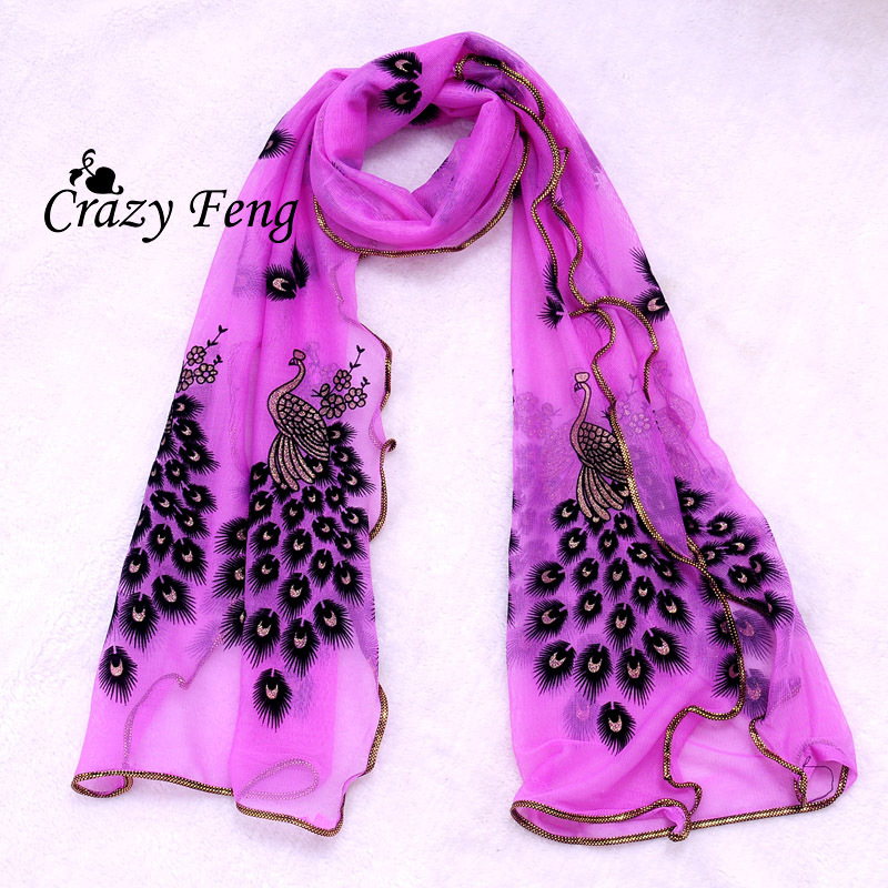 Hottest Fashion New Women's 7 Colors Chiffon Scarf handmade peacock lace scarves Long Soft Shawl Wrap Stole Gift Free shipping(China (Mainland))