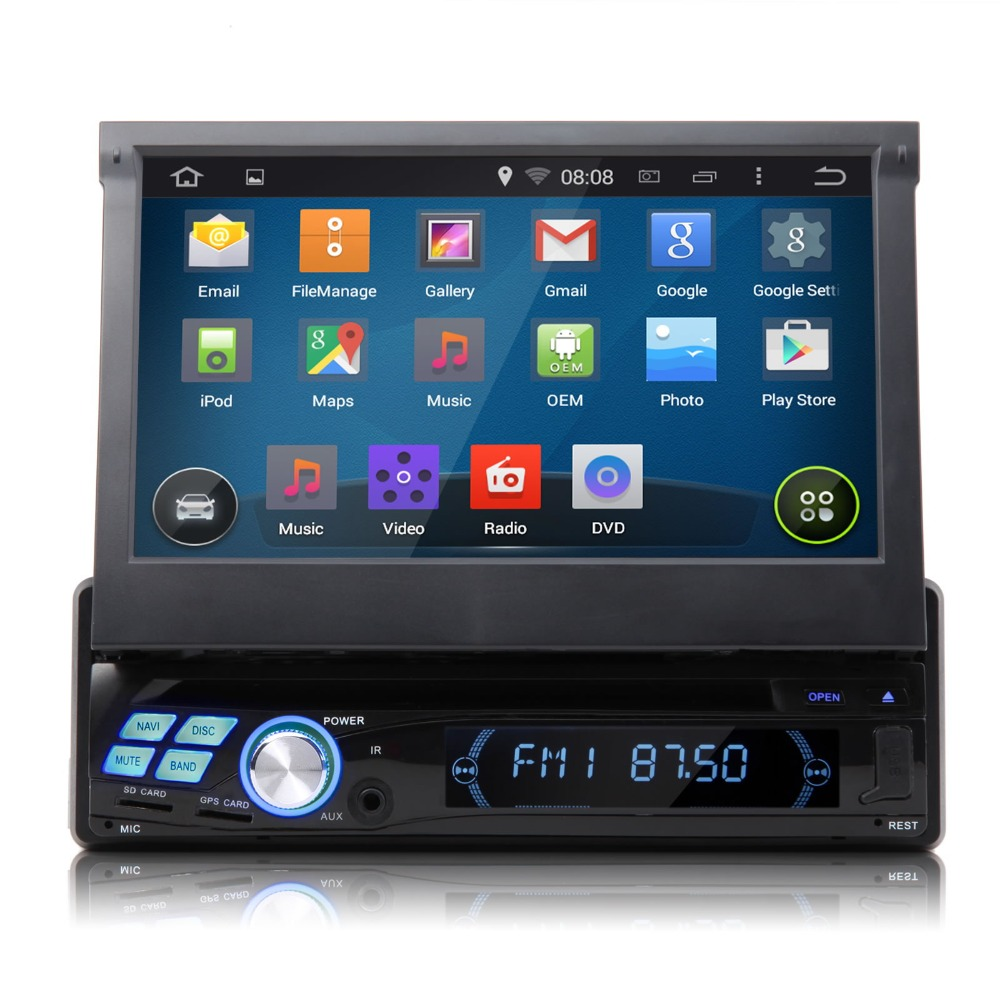 """7"""" Quad Core Android 4.4.4 KitKat OS Universal Single Din Car DVD 1 Din Car Radio One Din Car GPS with Screen Mirroring Support(China (Mainland))"""