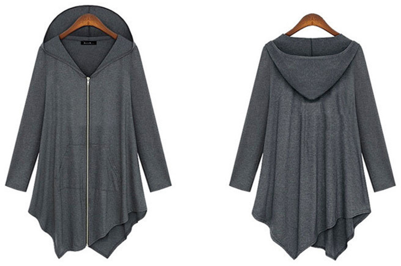 Zipper Irrrgular Women Hoodies Solid Cotton Loose Coat Casual Women Lady Hoodie Leisure Long Sleeve Fashion Plus Size RY1631(China (Mainland))