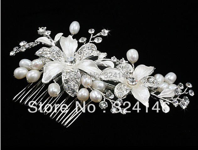 New Arrival Handmade Ivory Pearl flower Bridal hair combs Fashion Crystal headdress for Women Wedding Hair accessories wholesale
