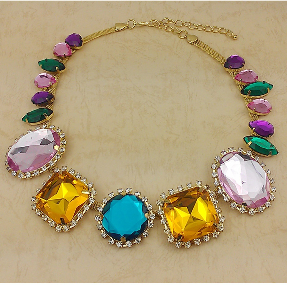 2015 New color way Fashion Necklace Gorgeous Crystal cup chain Necklace Color Necklace Free Shipping(China (Mainland))