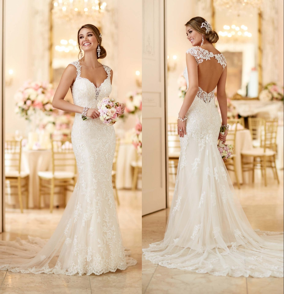 2016 stella york 6245 wedding dresses with open back and for Lace wedding dresses open back