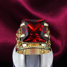 Big imitation ruby rings fine jewelry gold plated bague femme joias for women anel de ouro