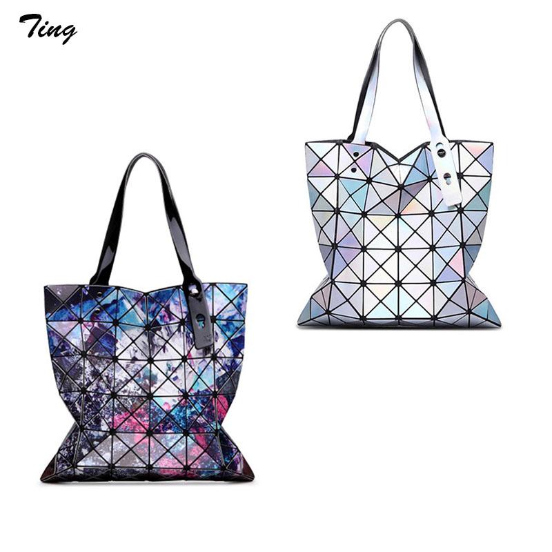 High quality women diamond hologram Top-handle Bag baobao silver clutch Folded brand leather tote handbags summer big beach bags(China (Mainland))