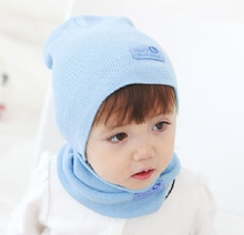 Children earflap caps with ring scarf set Kids winter warm hats with neckerchief Children earflaps hat  6set H346(China (Mainland))