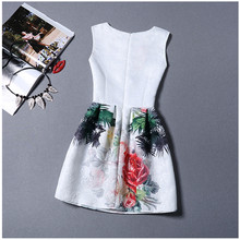 2016 Hot new European and American women's dress autumn new large size printing a word bottoming vest tutu dress female(China (Mainland))