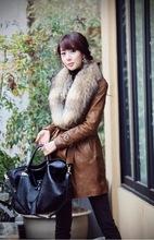 Large size women's fashion Korean Women genuine raccoon fur collar detachable fur coat fur coat(China (Mainland))