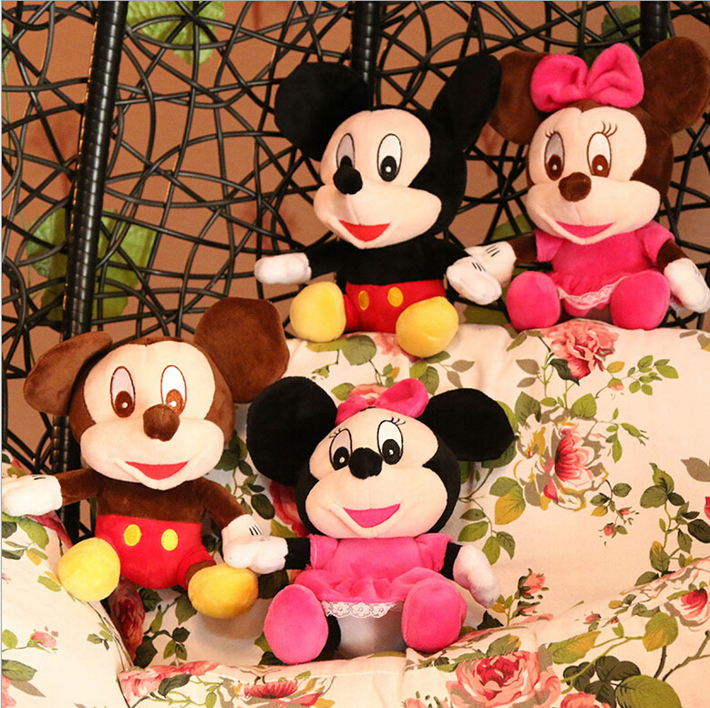 2PCS/lot Classic Mickey Mouse and Minnie Mouse Couples Staffed Sitting Mickey and Minnie Toys Plush Toys for Kids Birthday Gift(China (Mainland))