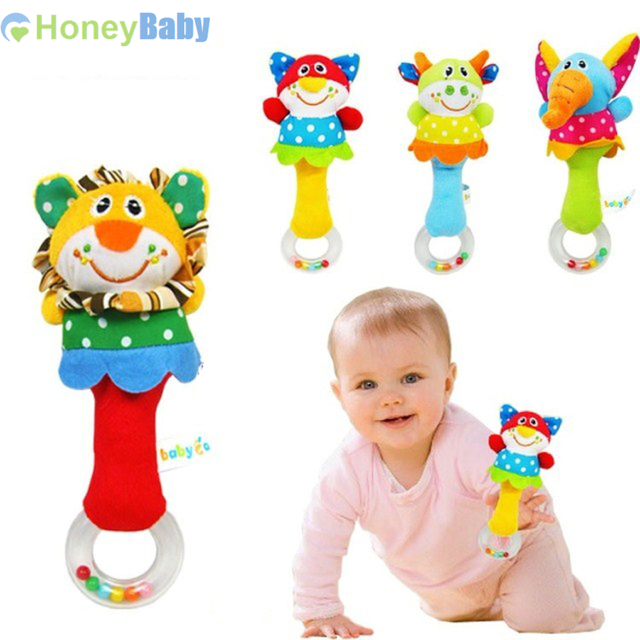 ( 4 шт./лот ) животных бар колокол и детские прорезыватели погремушки детское плюшевые игрушки и колокольчик детские игрушки WJ093