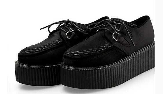 2015 Spring Harajuku Flat Platform Red Black Suede Leather Women's Creepers Shoes Woman Flats Punk Creeper Women size 34-40 - amao fashion shop store