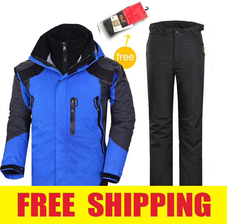 mens winter waterproof windproof hiking camping outdoor suit jacket pants ski suit clothes outerwear coat trousers snowboard<br>