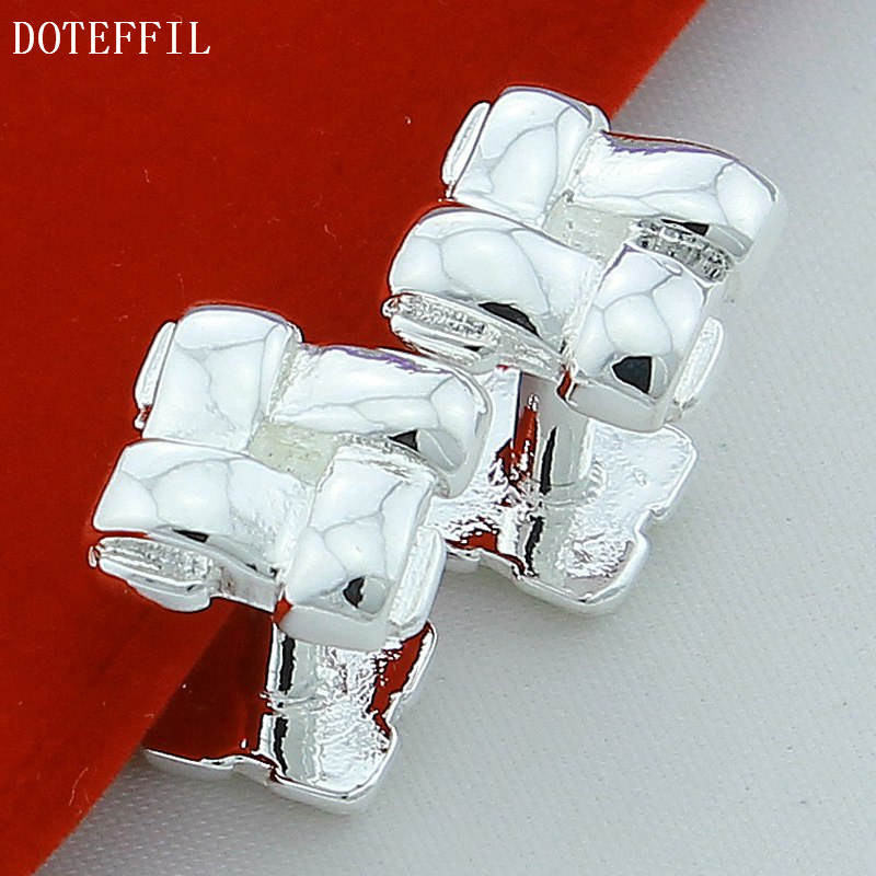 Solid 925 Sterling Silver Cufflink(China (Mainland))