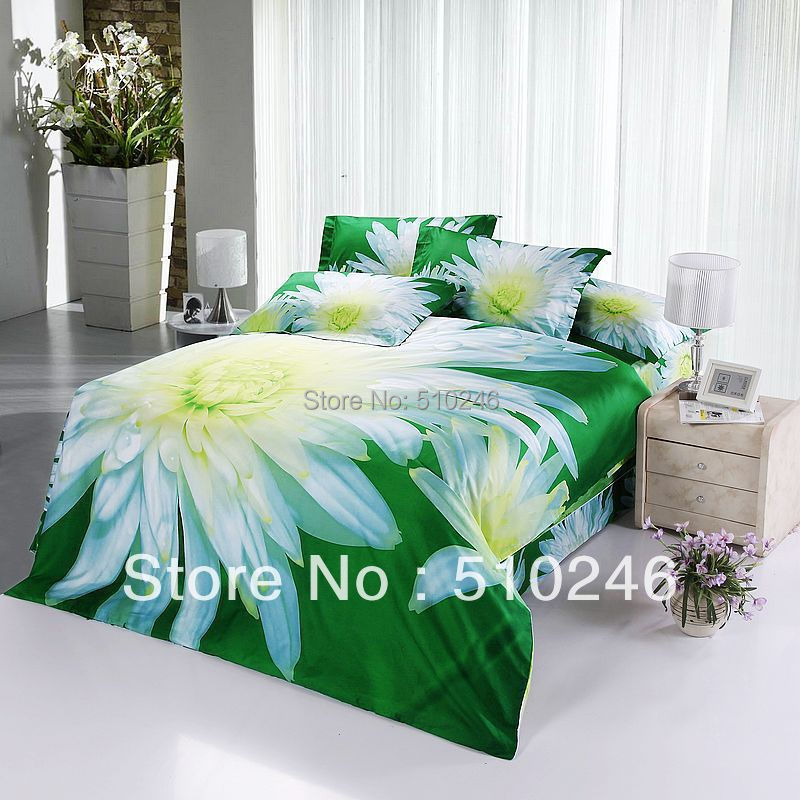 Здесь можно купить  promotion free shipping 4pcs cotton 3D white flower green  active printed bedlinen duvet cover set bedding set  Дом и Сад