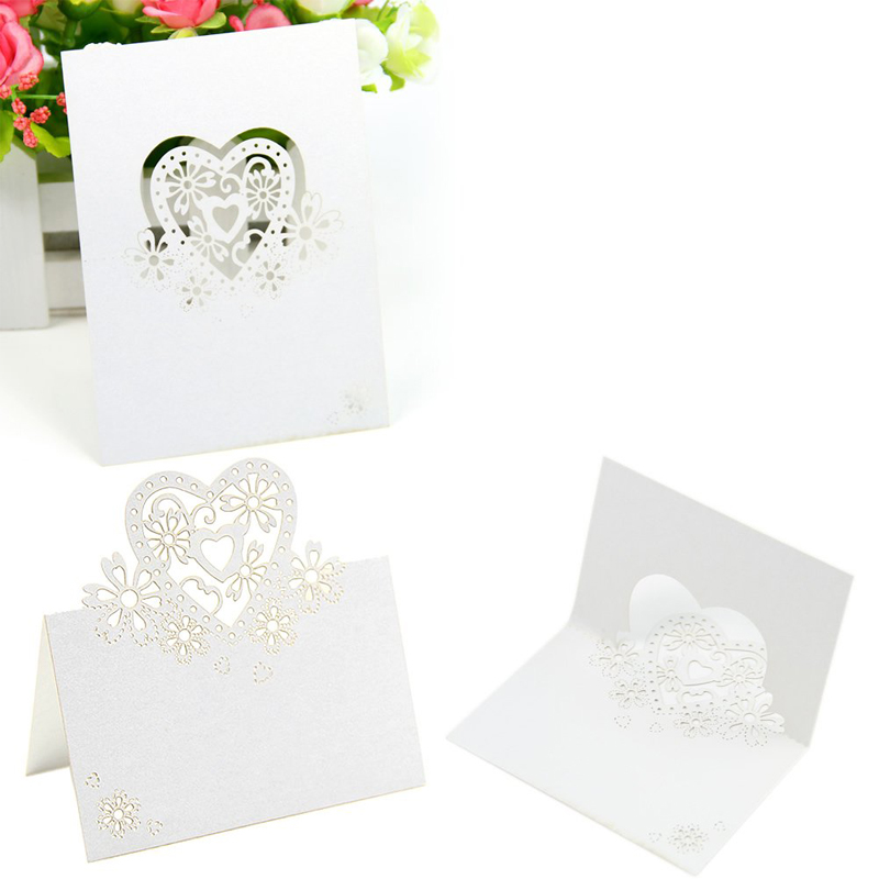 Boutique 50pcs White Love Heart Laser Cut Wedding Party Table Name Place Cards Favor Decor 12*9cm(China (Mainland))