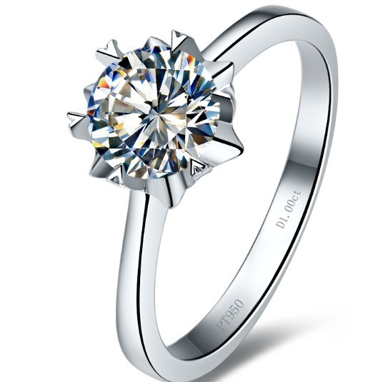 1CT AU750 Jewelry Ring18K Solid Gold Synthetic Diamond Engagement Gold Ring For Women Jewelry Gold 18K Wedding Snowflake Ring(China (Mainland))