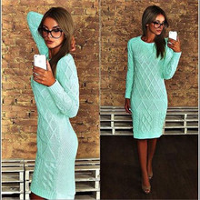 Straight Simple High Quality Autumn Winter Women Sweater Dress Casual Solid Full Sleeve O Neck Long Length Fashion Dress(China (Mainland))