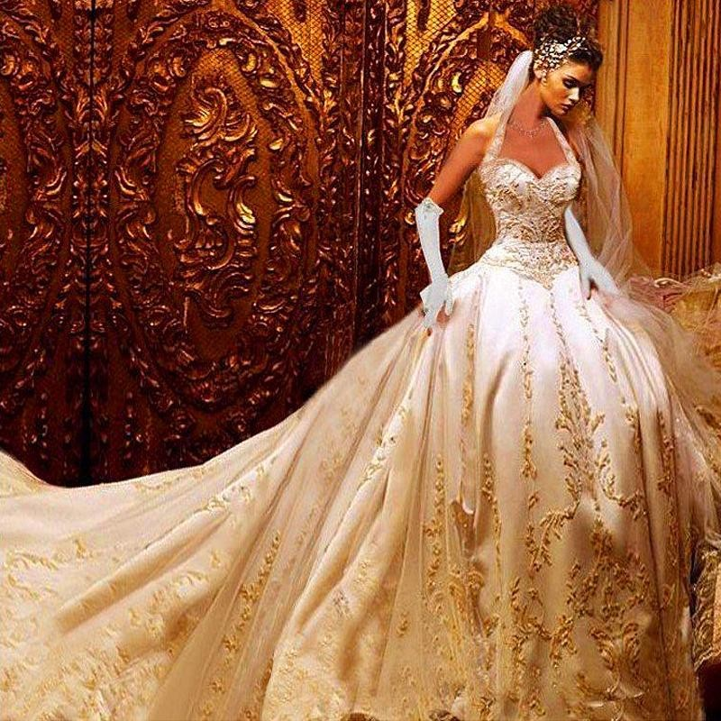 2015 luxury ball gown wedding dresses halter cathedral for Wedding dresses to die for