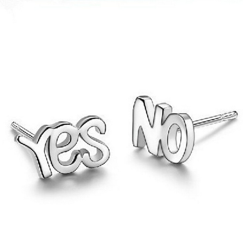 ES153 Wholesale Brincos New Girls Earing pendientes mujer Bijoux Silver Plated Yes No Stud Earrings For Women Jewelry Earings<br><br>Aliexpress