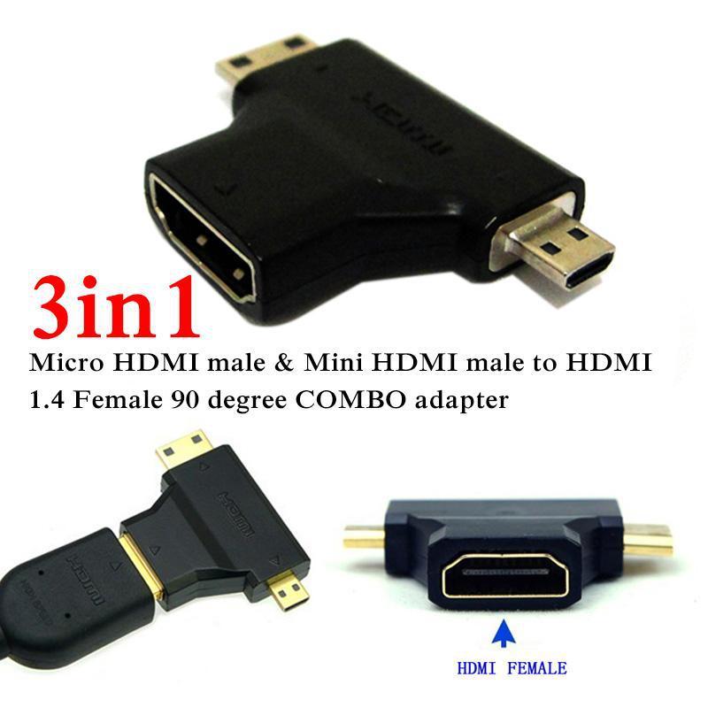 3 in1 Micro HDMI male + Mini HDMI male to HDMI 1.4 Female cable adapter converter for HDTV 1080P hdmi cables COMBO<br><br>Aliexpress