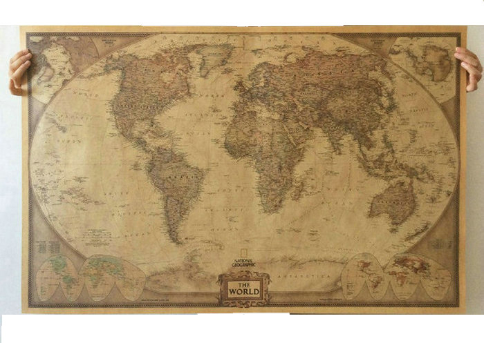 World map paper posters retro vintage style retro in wall - Vintage inspired wall art ...