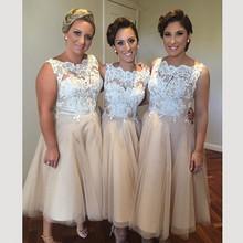 Champagne Short Bridesmaid Dresses Lace Scoop Neck Tea Length Wedding Party Dress Prom Gowns Vestidos de festa(China (Mainland))