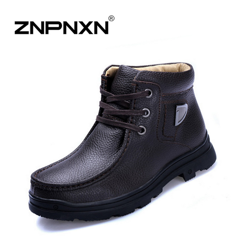 Rosan 2014 Winter Shoes New Stylish Mens Snow Boots Genuine Leather Lace-Up Warm Plush Fur Cow Casual