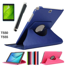Free shipping For Samsung Galaxy Tab A T550 T555 PU leather 360 Rotating Stand Case cover For Galaxy Tab A 9.7inch +Stylus+film