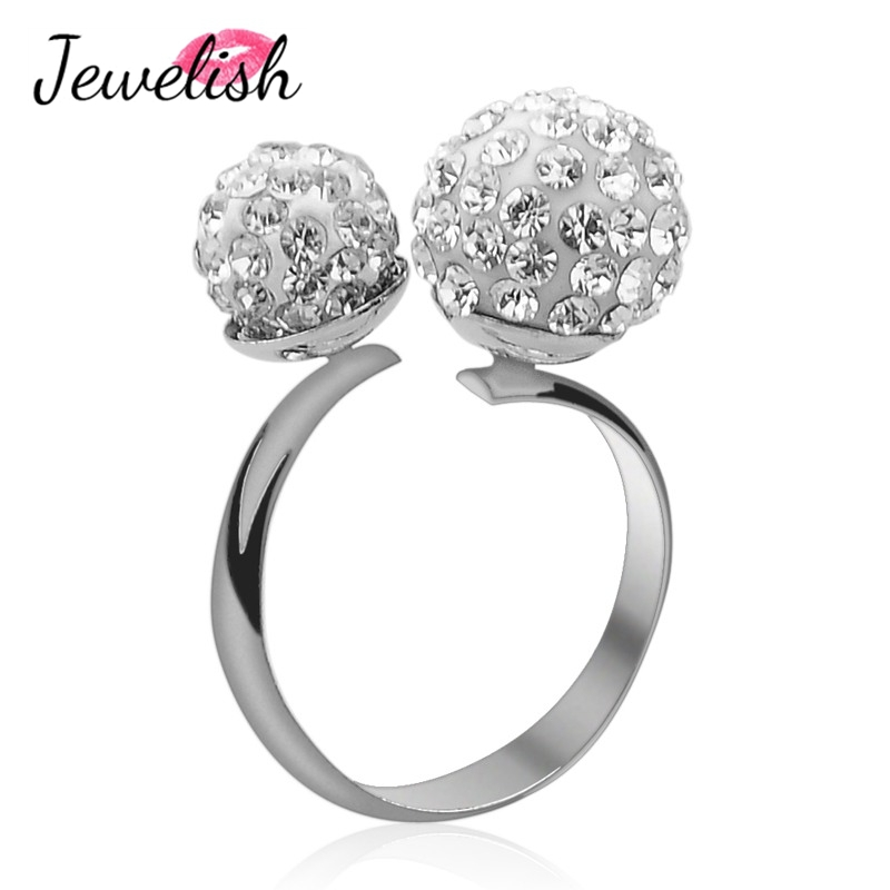 Bling Alloy Double Rhinestone Ball Party Wedding Cuff Bands Dress Costume Accessories Crystal Jewelry Finger Ring Girl Women - Smileface store