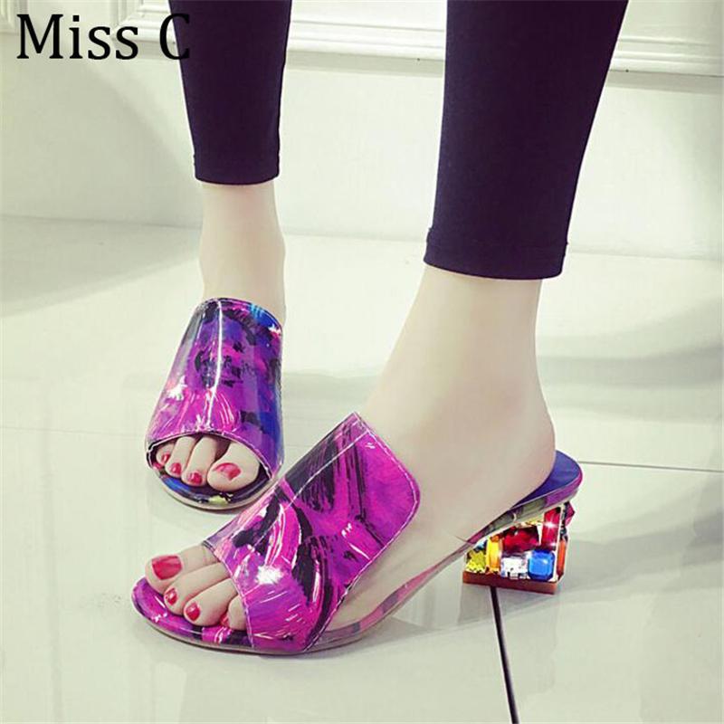 2016 Rhinestone Del Verano Sandalias de Las Mujeres de Piedra de Impresión Zapatillas de Moda Chunky Heel Diapositivas Peep Toe Zapatos Mujer Plus Tamaño 41 WSS153(China (Mainland))