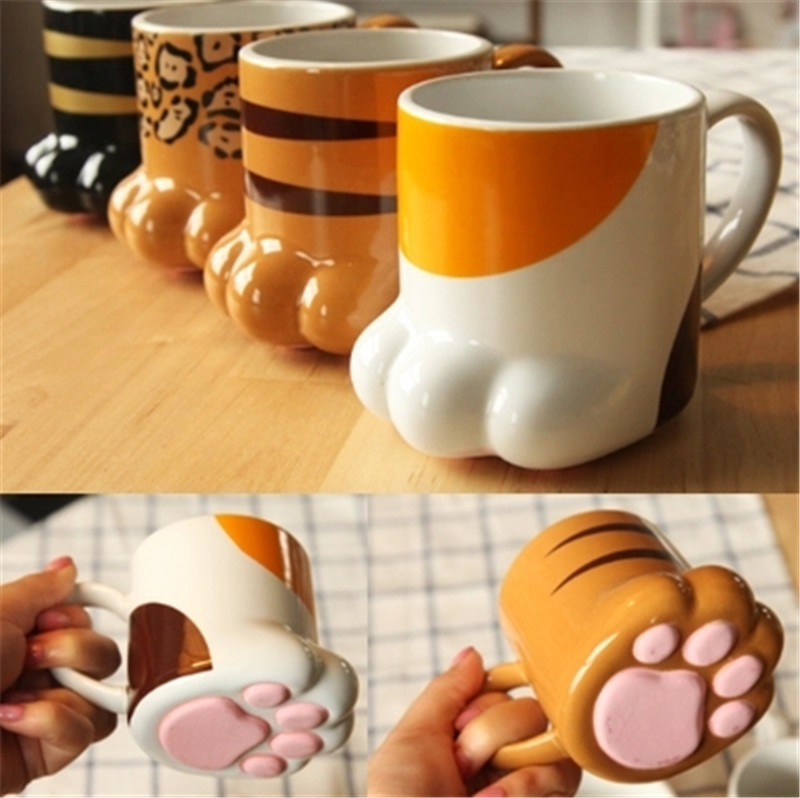 Unique Design PAW-TY Mug Lovely Cat claw Water Cup Novelty Coffee Mug Ceramic Milk Cup Replica drink Cup Tea Mugs(China (Mainland))
