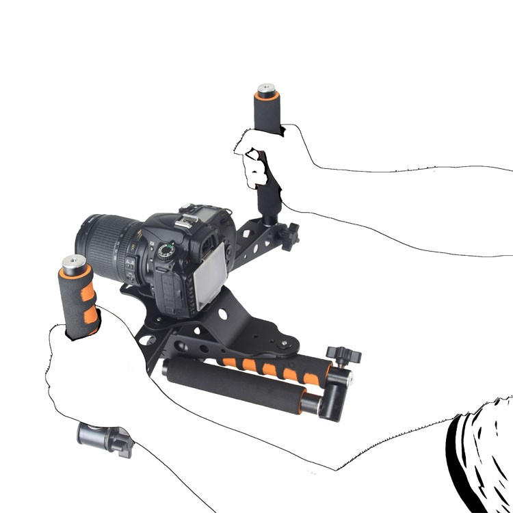 ถูก DSLRชุด5DIIแท่นขุดเจาะวิดีโอกล้อง5D2 slr dslr rigไหล่ภูเขาภาพยนตร์ชุดชุดกรงจับs tabilizer s teadicam steadycam