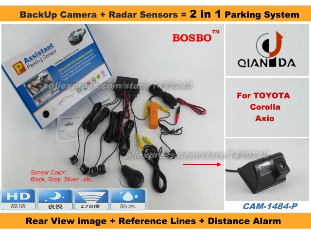 For TOYOTA Corolla Axio - Car Parking Sensor + Rear View Camera 2 in 1 Assistance System - 4 Radars / Visible Model<br><br>Aliexpress