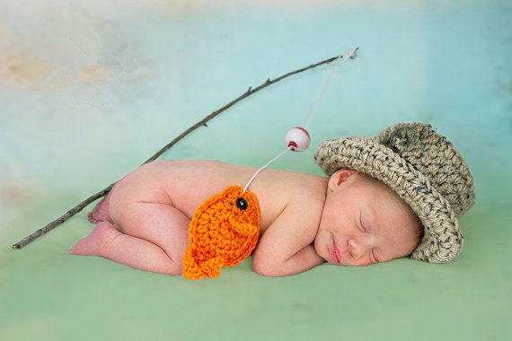 ideas for newborn photo props - Baby Boy Fishing Hat w Fish SET Newborn Crochet Prop